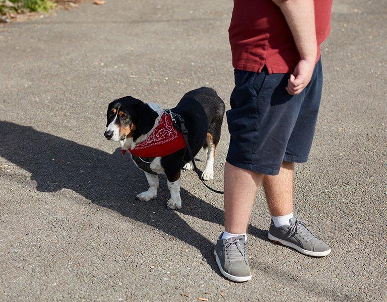 Alex walking the dog