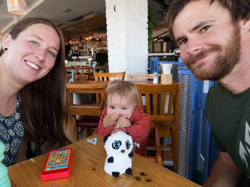 Baby Max in a restaurant with his parents