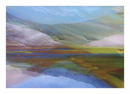 A painting of a lake and mountains in bright, fresh colours of greens, blues and purples.