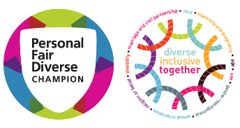 Logos for national NHS personal, fair, diverse champions