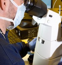 research at Cambridge IVF. Researcher with microscope.