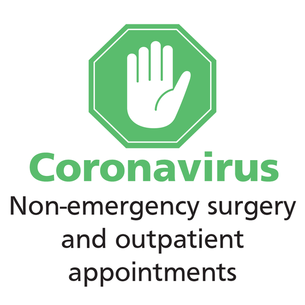 Text: Coronavirus - non-emergency surgery and outpatient appointments