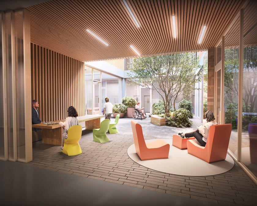 An artist's impression of a winter garden inside the new Cambridge Children's Hospital
