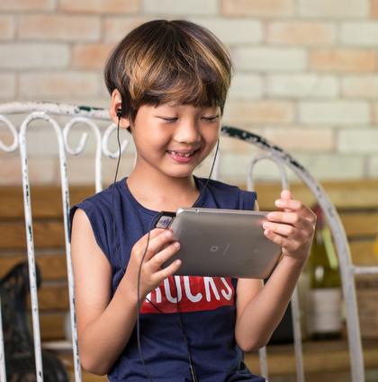 A child using technology