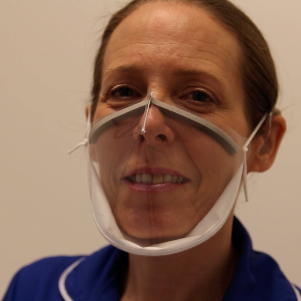 Junior sister Emma Ayling demonstrates the Panoramic Mio-Mask