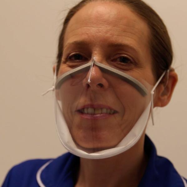 Junior sister Emma Ayling demonstrates the Panoramic Mio-Mask