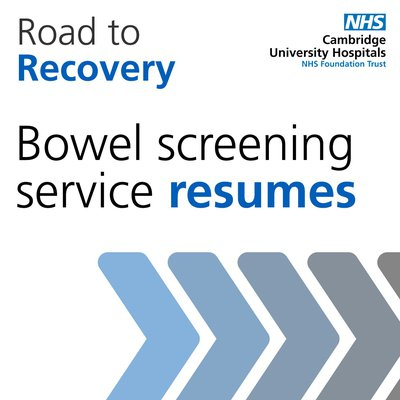 Graphic that says: Road to Recovery - bowel screening resumes