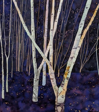 Painting of some white trees with black markings against a dark blue background