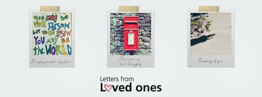 A banner of three polaroid style pictures consisting of a hand written letter, a red post box and a pen on the writing paper to promote the PALS service letters from loved ones.