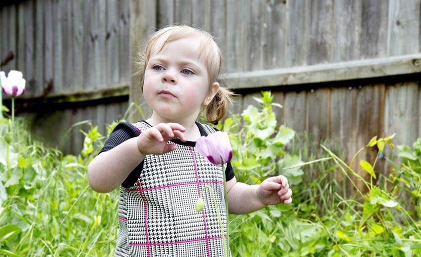 Millie Mae in her garden