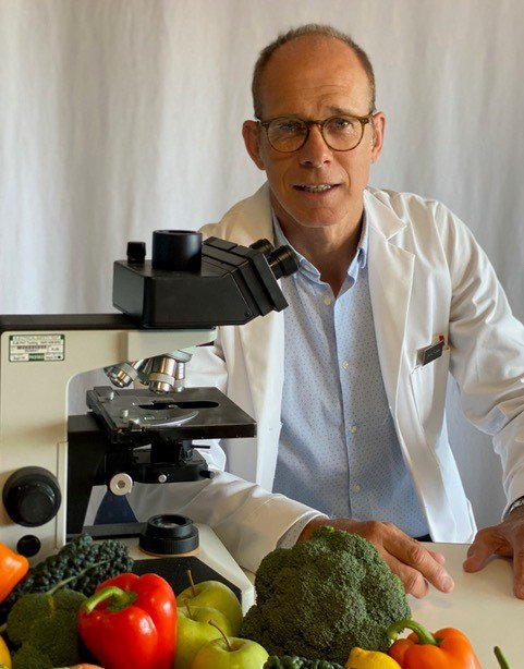 Professor Robert Thomas with a selection of  foods