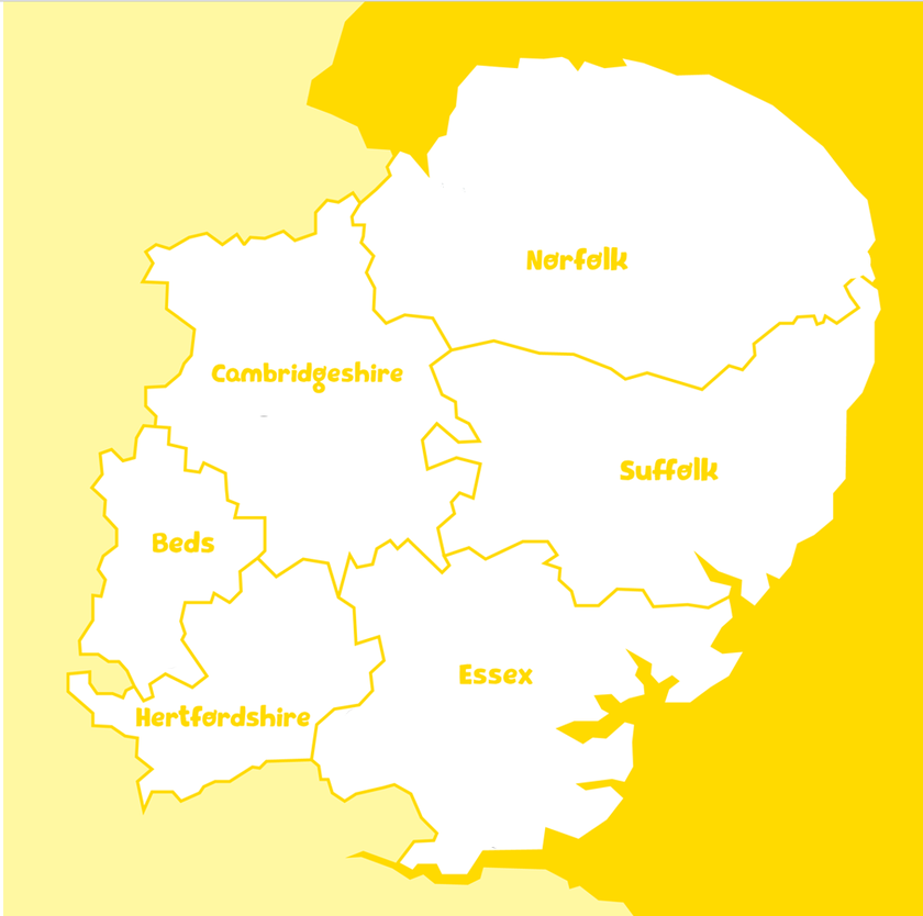 A map showing the east of England