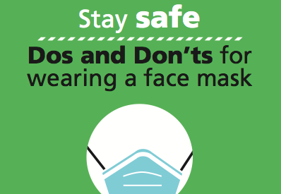 Stay safe. Do's and don'ts for wearing a mask.