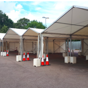 Marquees set-up at Newmarket Road park and ride in Cambridge to provide drive through blood tests