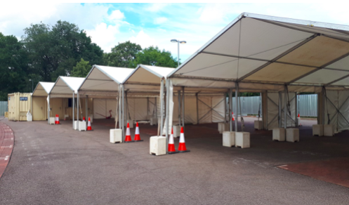 Marquees set-up for the drive through blood tests