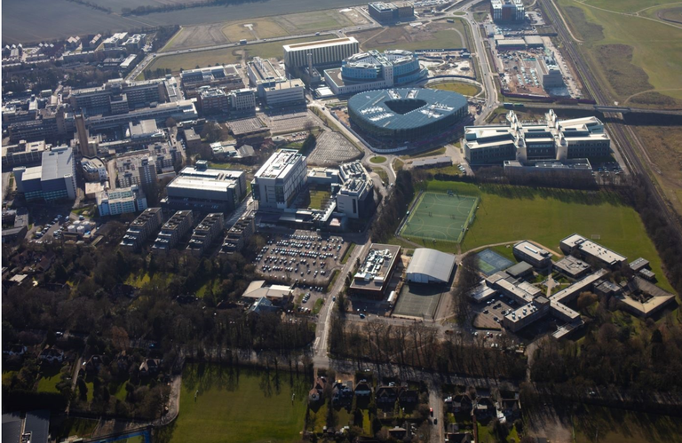 An aerial view of Cambridge Biomedical Campus