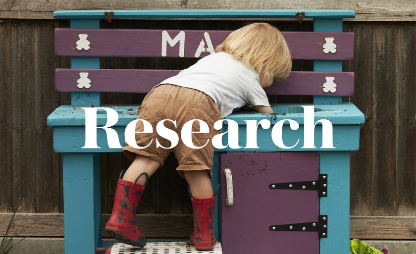 A subversive image showing a child peering into a toybox overlaid with the words Researchital Bed