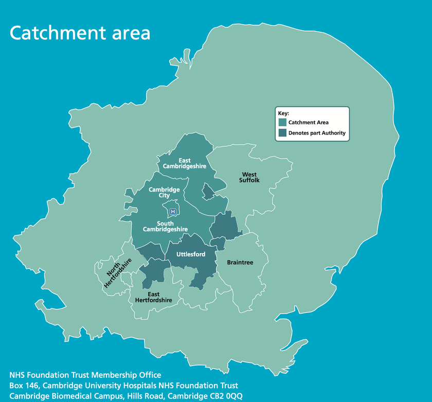 Map of the FT membership catchment area