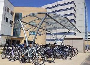 Bikes parked in a cycle shelter on campus