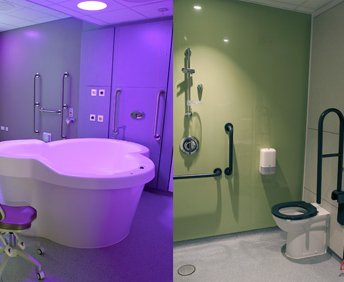 A birthing pool and wet room at the Rosie birth centre