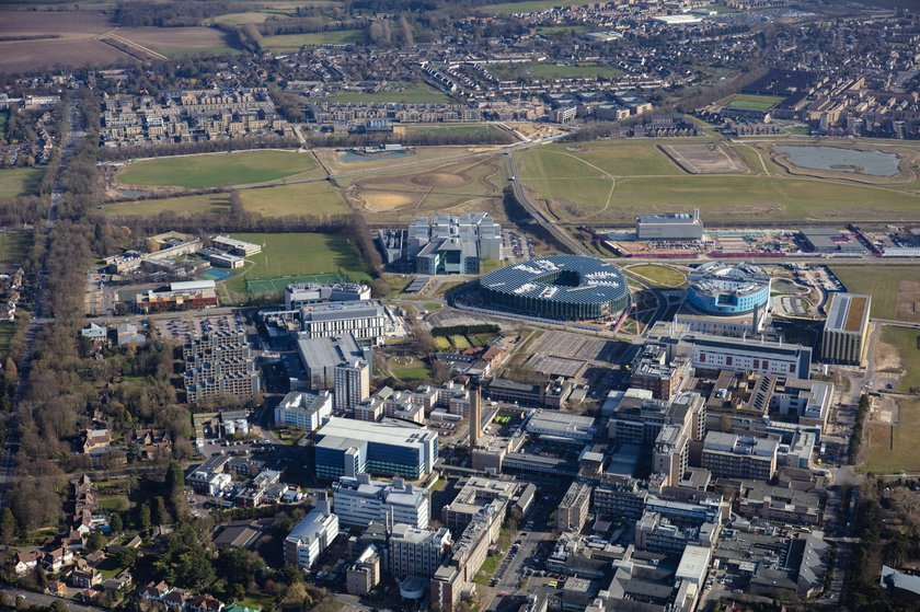 An aerial view of the Cambridge Biomedical Campus