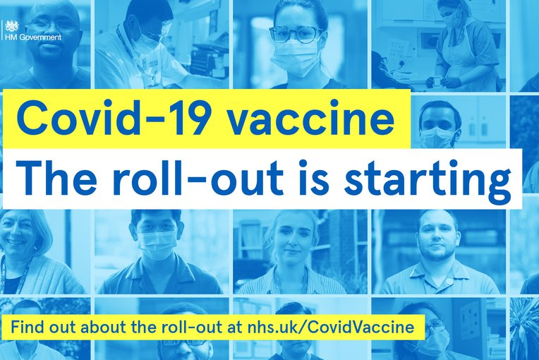 A picture with wording: Covid-19 is starting to roll out