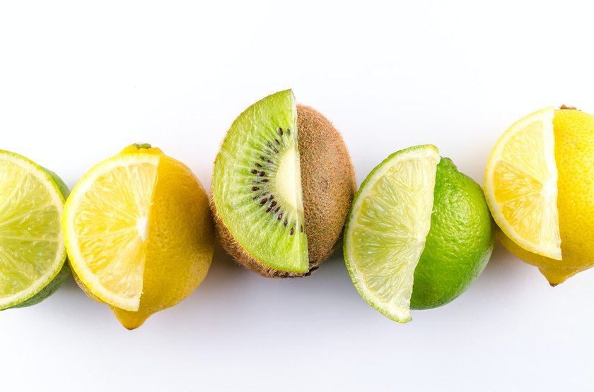 Picture of a lemon, kiwi and lime lined up