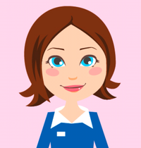 Graphic of a lady in a blue uniform with brown hair and blue eyes on a pink background